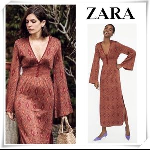 Zara Metallic Knit Empire Waist Maxi Sweater Dress